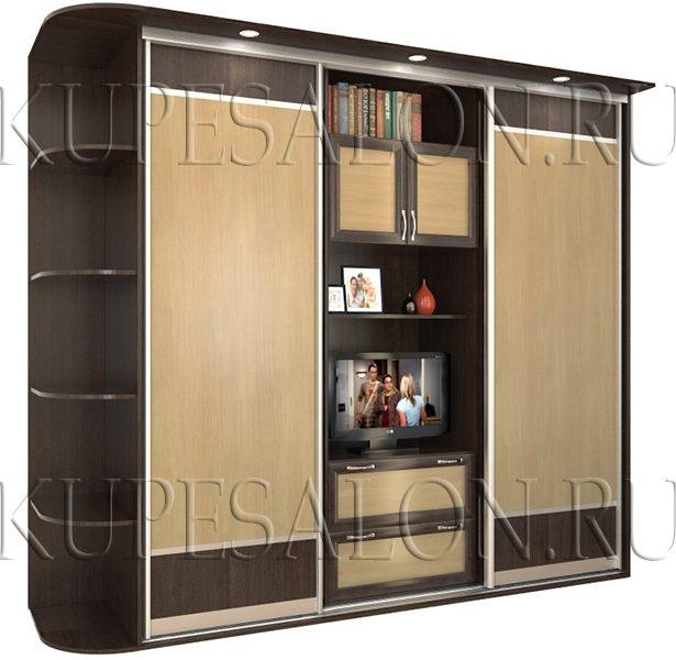 недорогой шкаф купе с телевизором внутри фото
