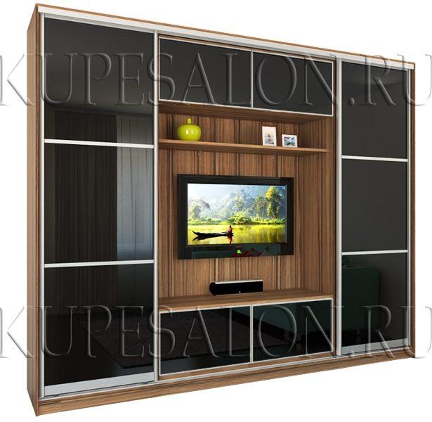 черный современный шкаф купе с телевизором на заказ