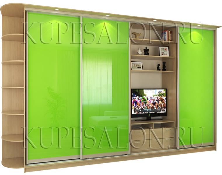 оригинальный дизайн шкафа купе с телевизором в комнату