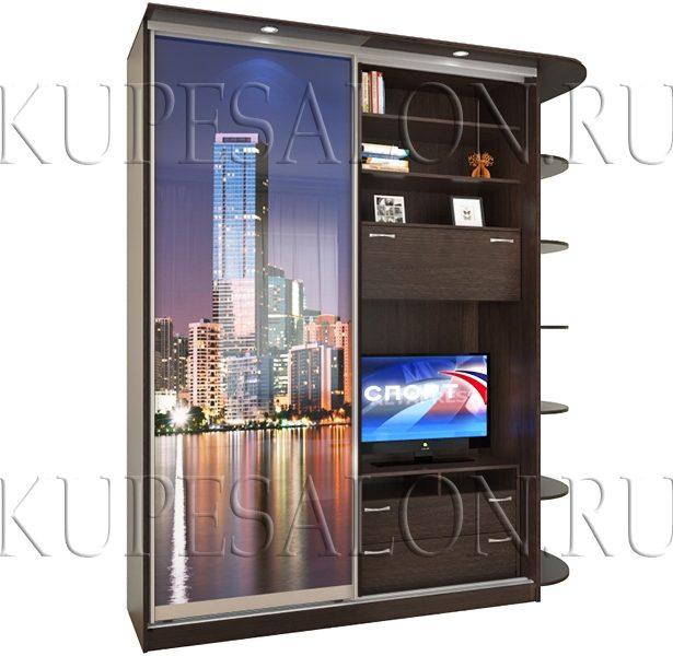 дешевый шкаф купе с телевизором с фотопечатью на заказ