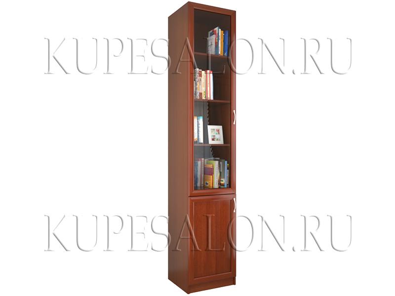 односекционный книжный шкаф со стеклом на заказ фото