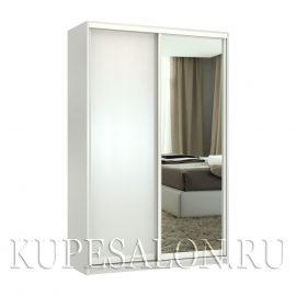 Премиум-2 с зеркалом шкаф купе белый