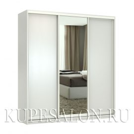 Премиум-3 с зеркалом шкаф купе белый