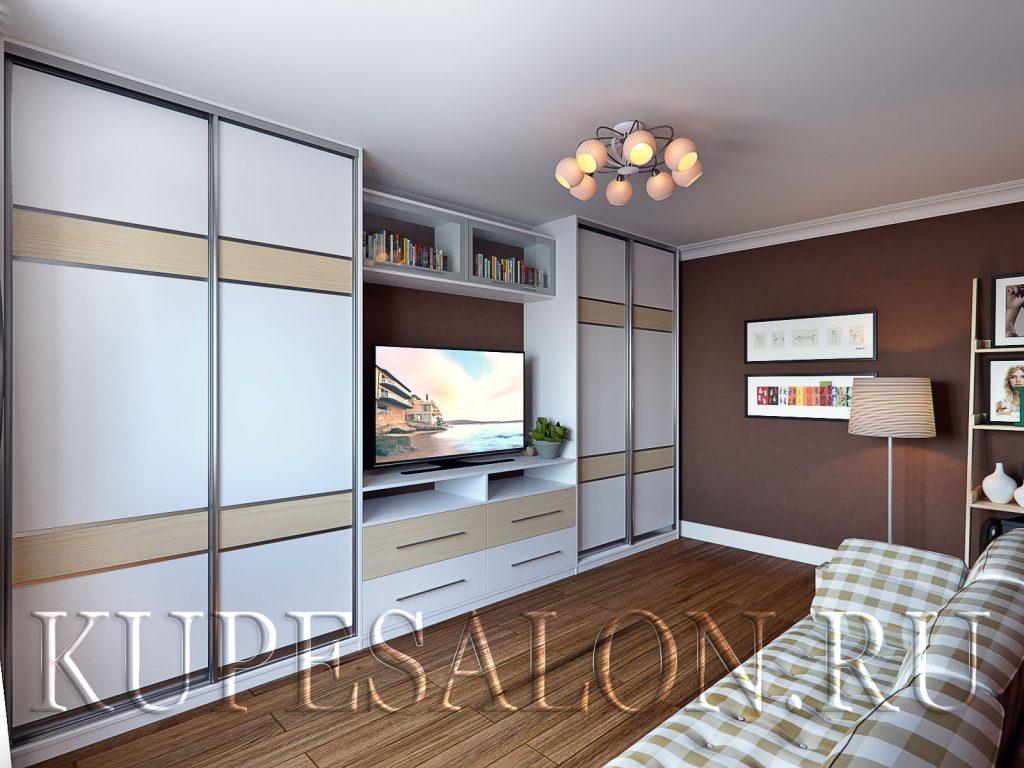 Встроенный шкаф купе с телевизором в гостиную