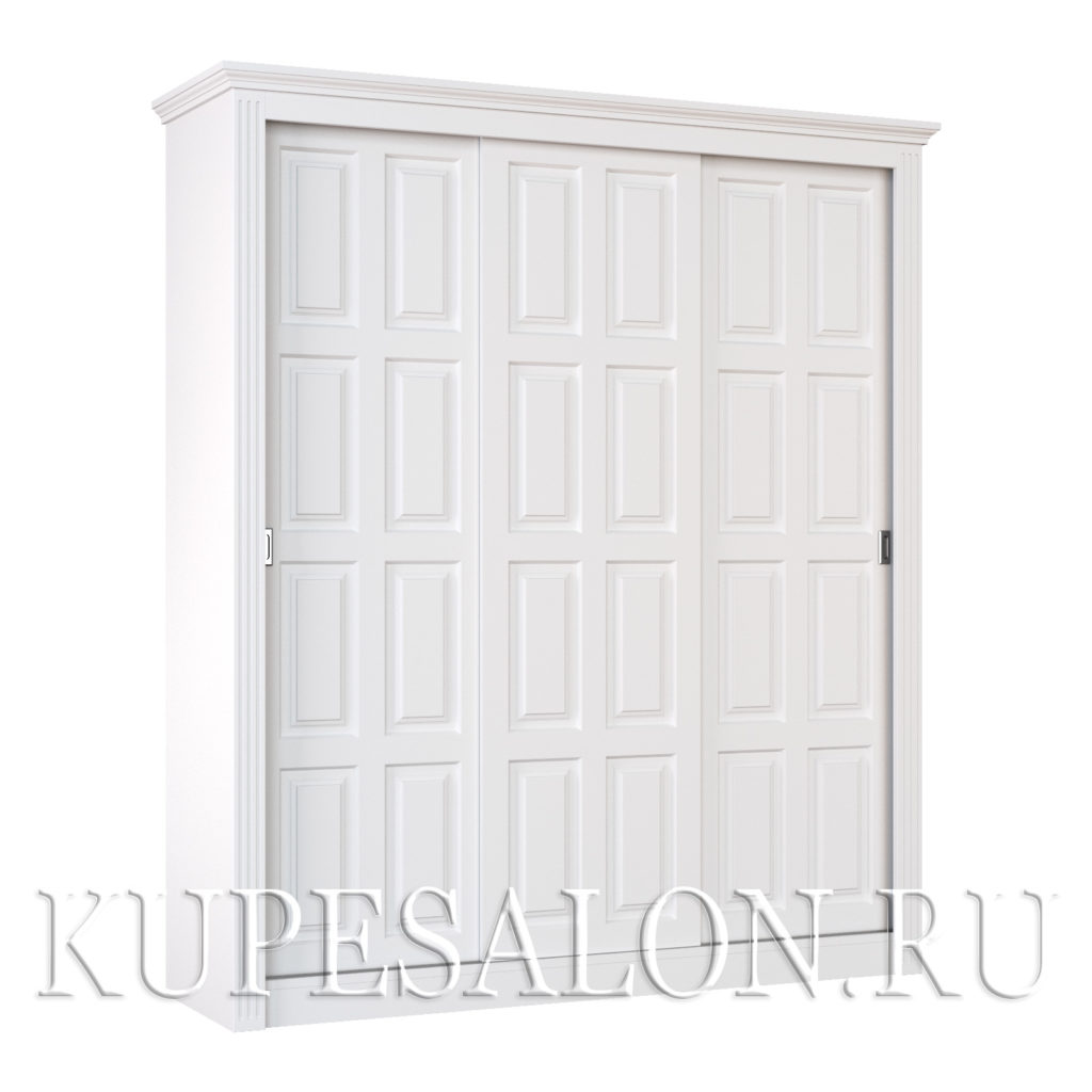 Шкаф купе белый классика-7 трехдверный