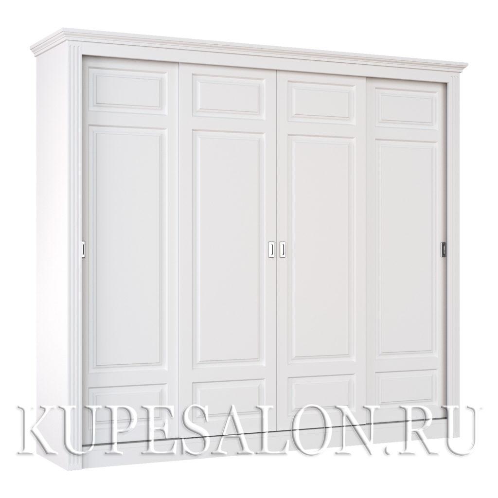 Шкаф купе белого цвета классика-10 четырехдверный