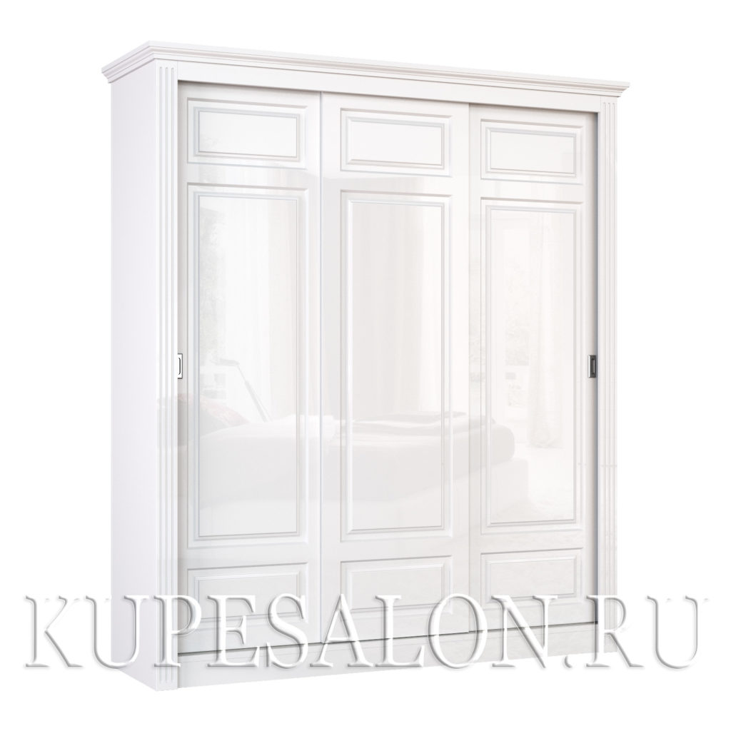 Шкаф купе белого цвета классика-10 трехдверный
